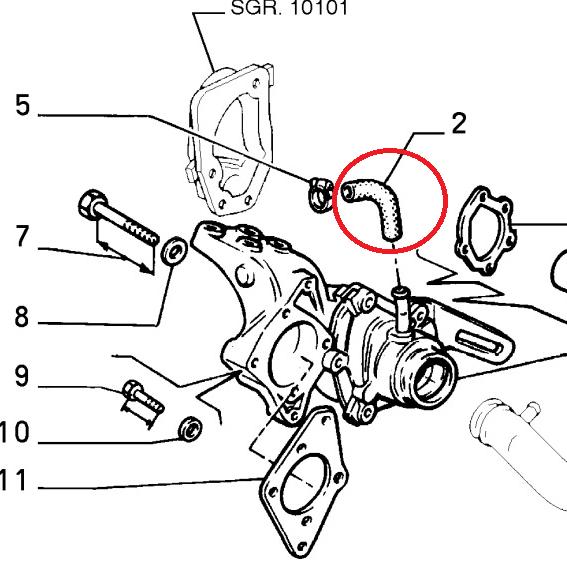 Fiat Ducato 2.5 Diesel Water Pump Hose Pipe 280 290 (1982
