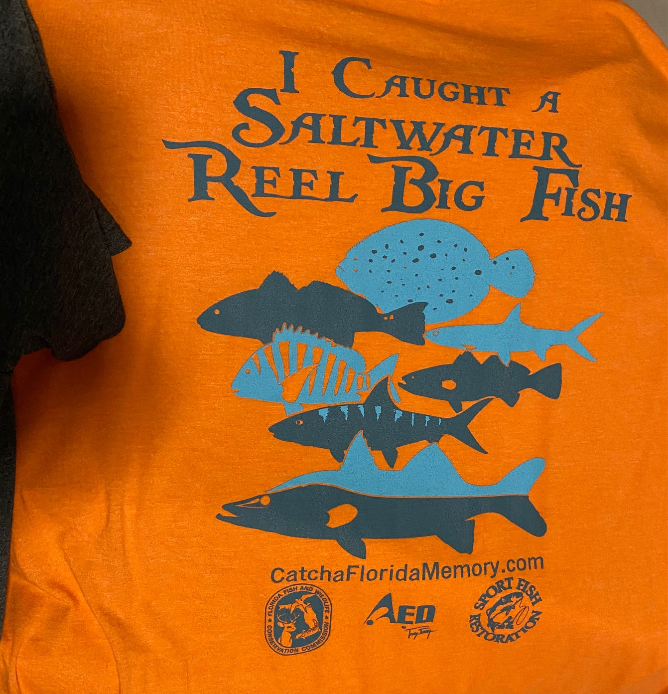 Orange shirt with Reel Big Fish logo. Part of the Angler Recognition Prize pack