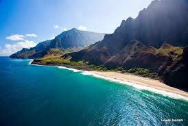 A veiw of a Kaua'i beach and shoreline