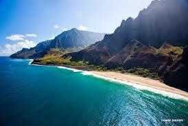 A veiw of a Kaua'i beach and shoreline
