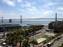 The San Francisco Bay Bridge viewed from the Hyatt Regency San Francisco
