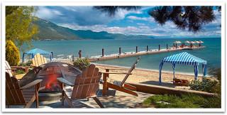 The lakefront beach of the Hyatt Regency Lake Tahoe