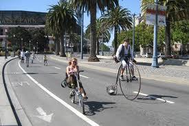 Biking along San Francisco's Embarcadero, adjacent to Hyatt Regency