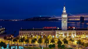 A night time view of the San Francisco Ferry Building viewed from the Hyatt Regency San Francisco