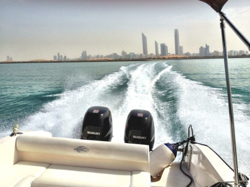 twin engines heading away Abu Dhabi Coastal safety rya sea school