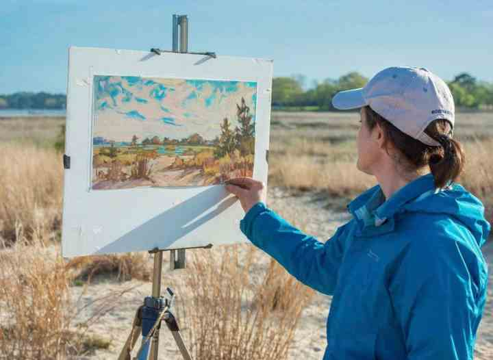 Maria Reardon painting at Pleasure House Park, Virginia Beach