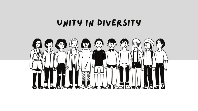 Cartoon of a diverse group of people standing together with the words Unity in Diversity above their heads. Gentrification can often decrease diversity.