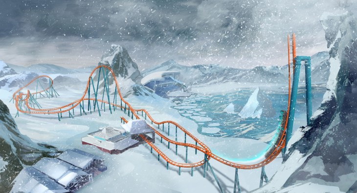 Ice Breaker Roller Coaster Layout - SeaWorld Orlando