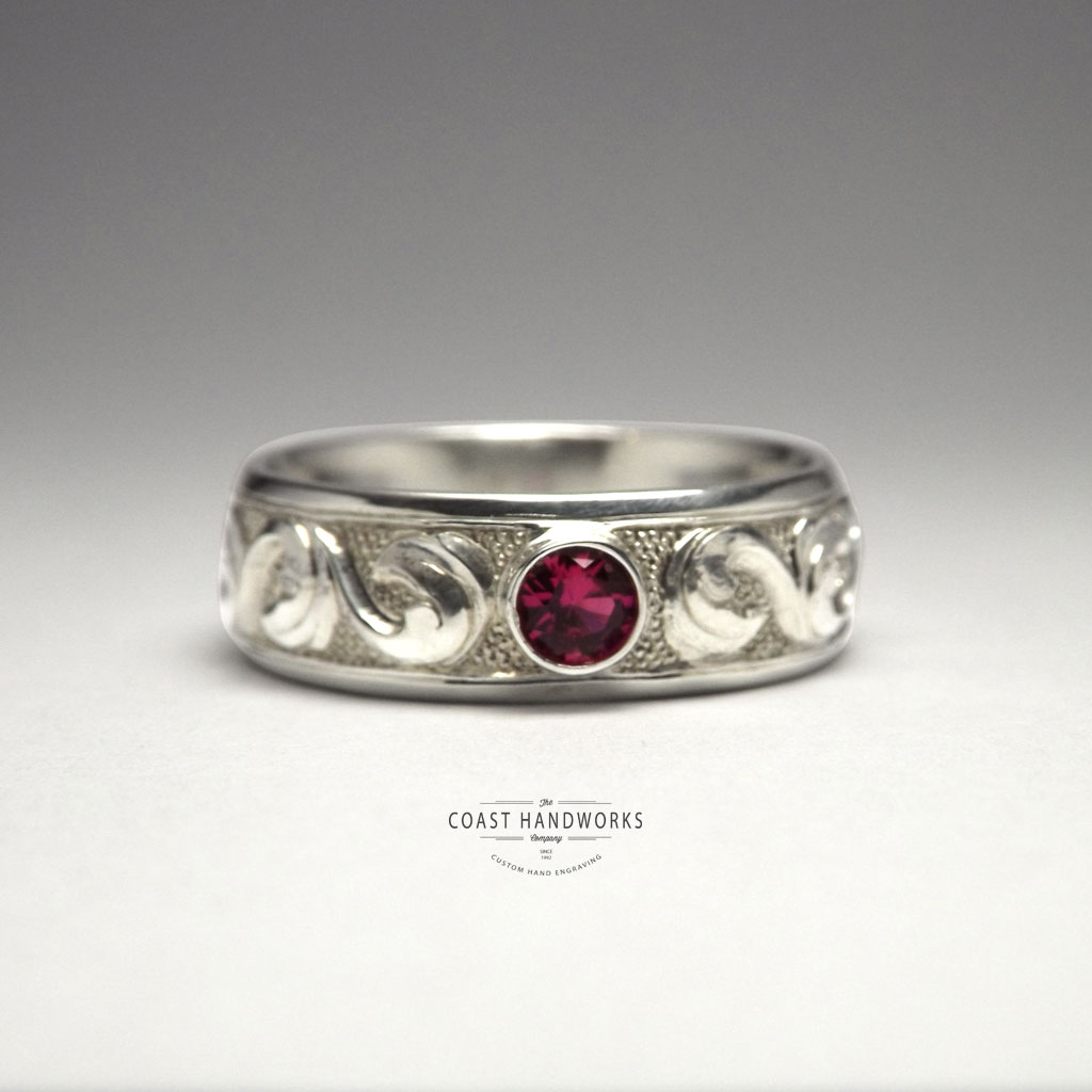 Baroque Scroll Ring With Bezelled Gemstone Handmade In