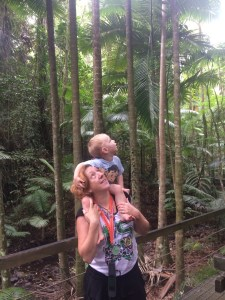 Northern Aussie Mum and baby looking up at the Daintree rainforest