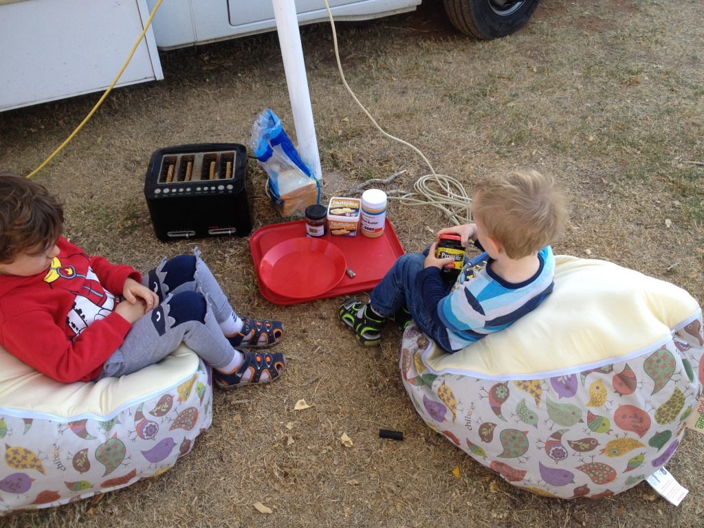 An outdoor picnic breakfast