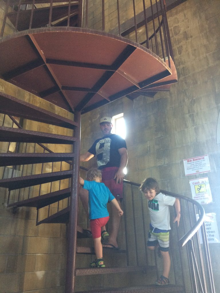 A spiral staircase in Sunshine Castle