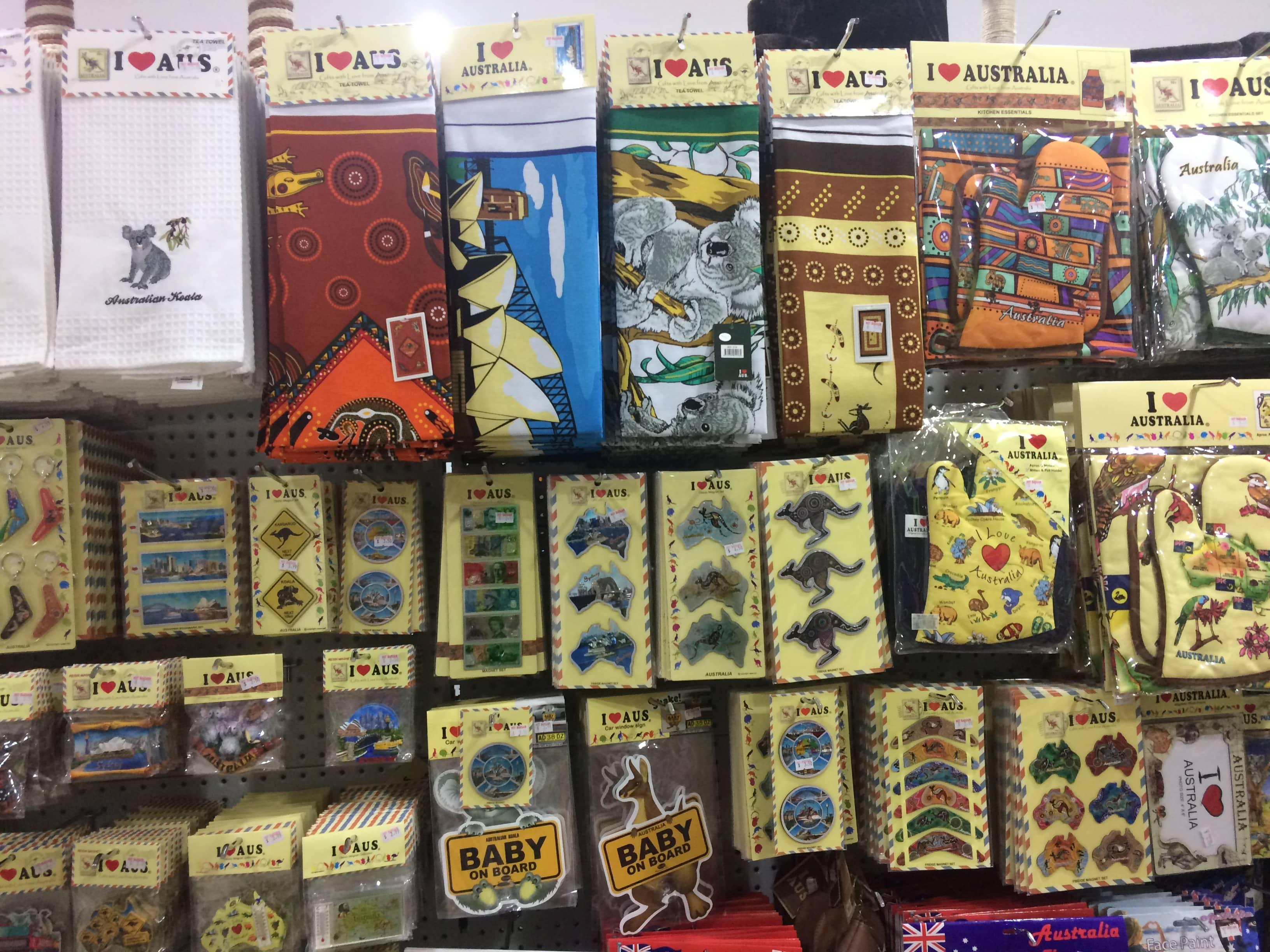 A wall of Australian souvenirs
