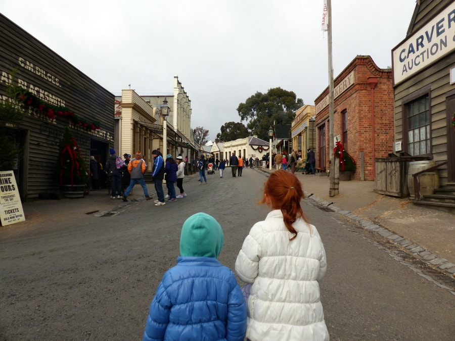 Kids enjoying the historic Sovereign Hill in Ballarat - travel Australia with kids