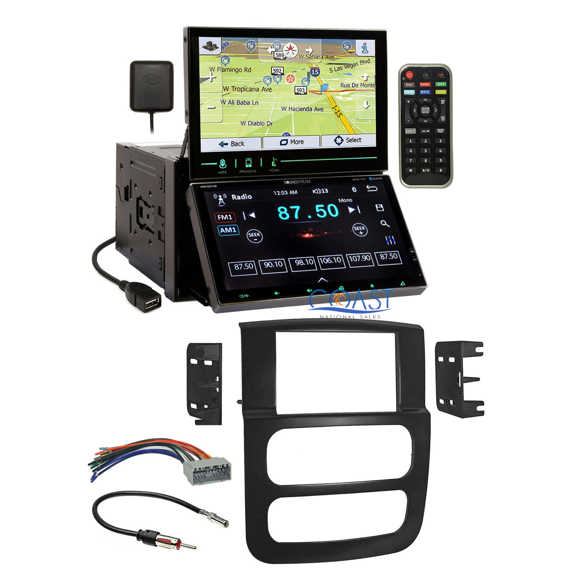 hight resolution of soundstream dual screen dvd gps stereo dash kit harness for 2002 05 dodge ram