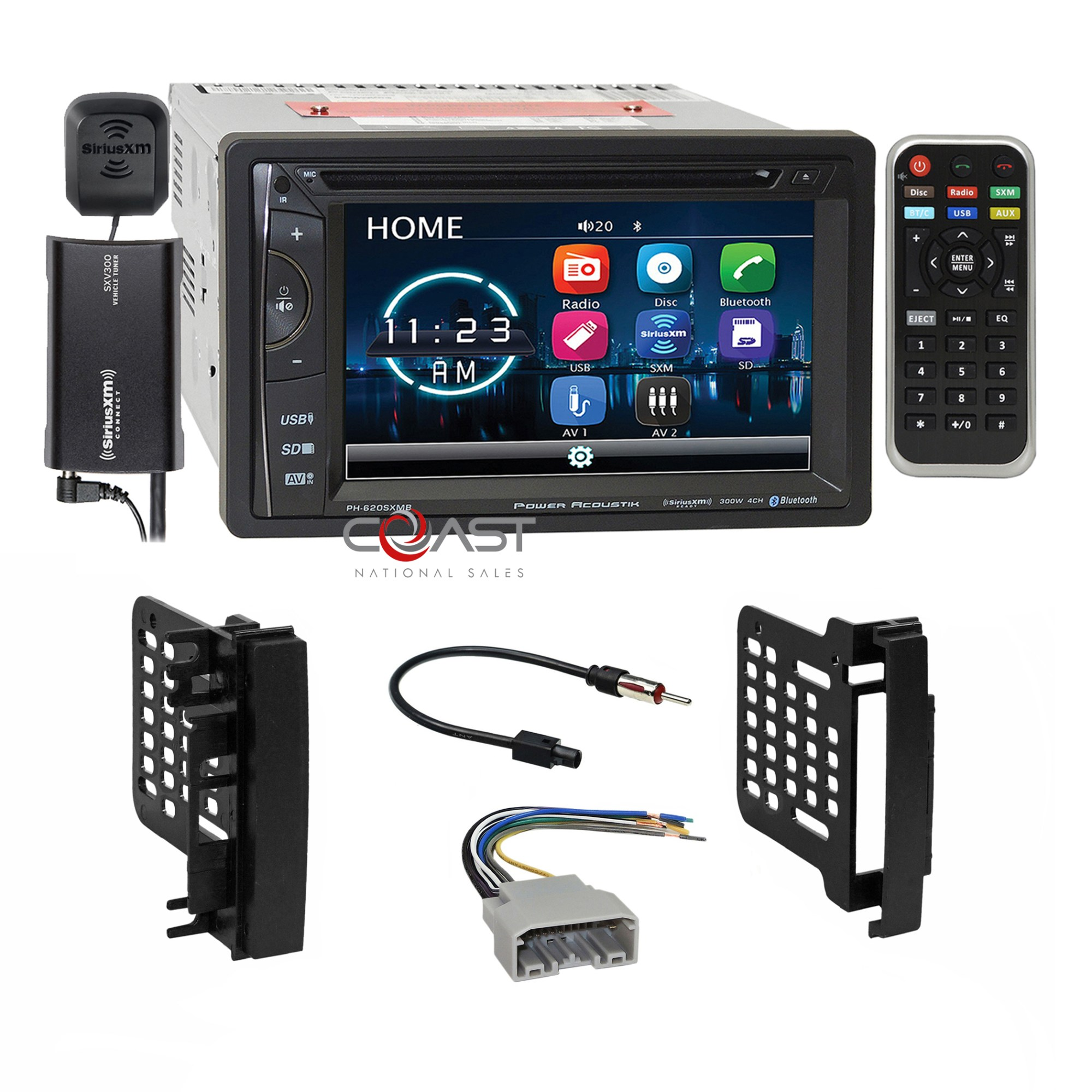 hight resolution of details about power acoustik dvd bt sirius stereo dash kit harness for chrysler dodge jeep
