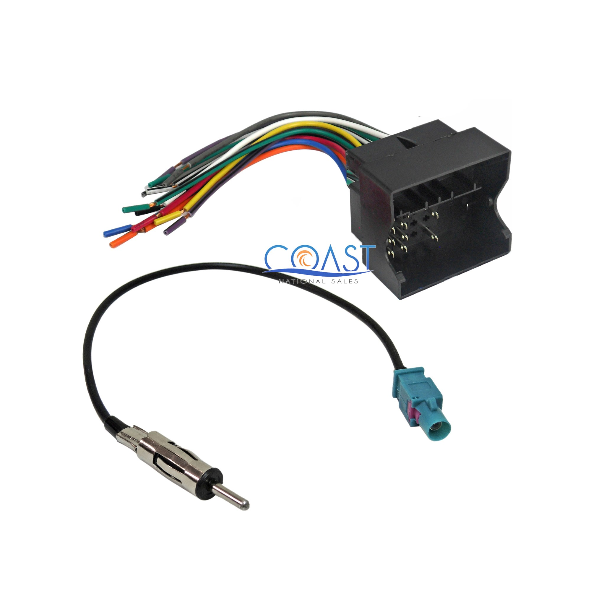 hight resolution of car stereo radio wire harness antenna combo for 2005 2010 bmw cooper volkswagon