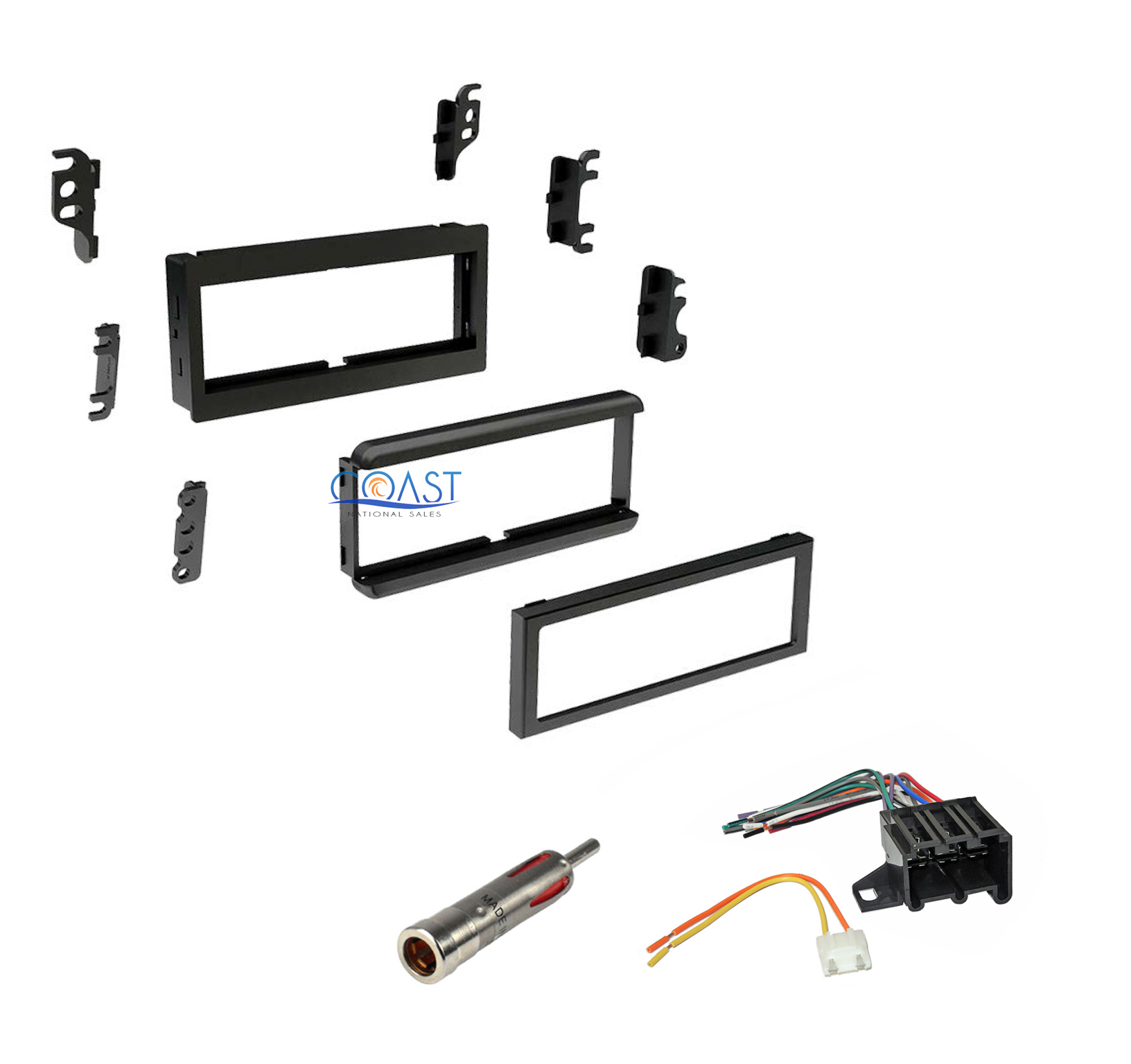 Single DIN Dash Kit + Harness & Antenna 1982-2004 GMC