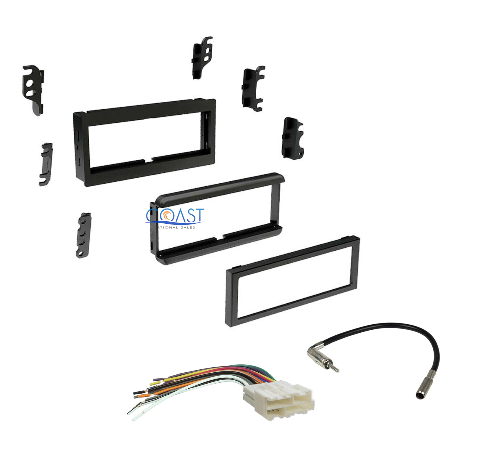 Single DIN Car Dash Kit Harness Antenna for 1982-2004 GMC