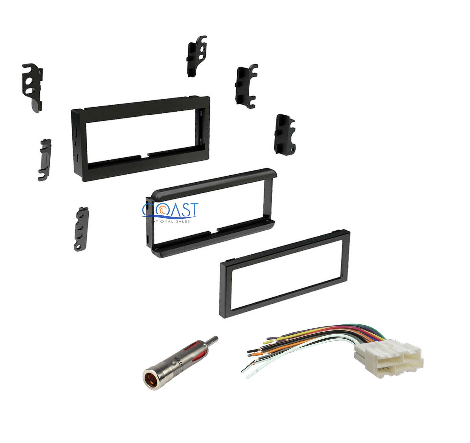 Single DIN Dash Kit w/Harness + Antenna GMC Saturn Chevy
