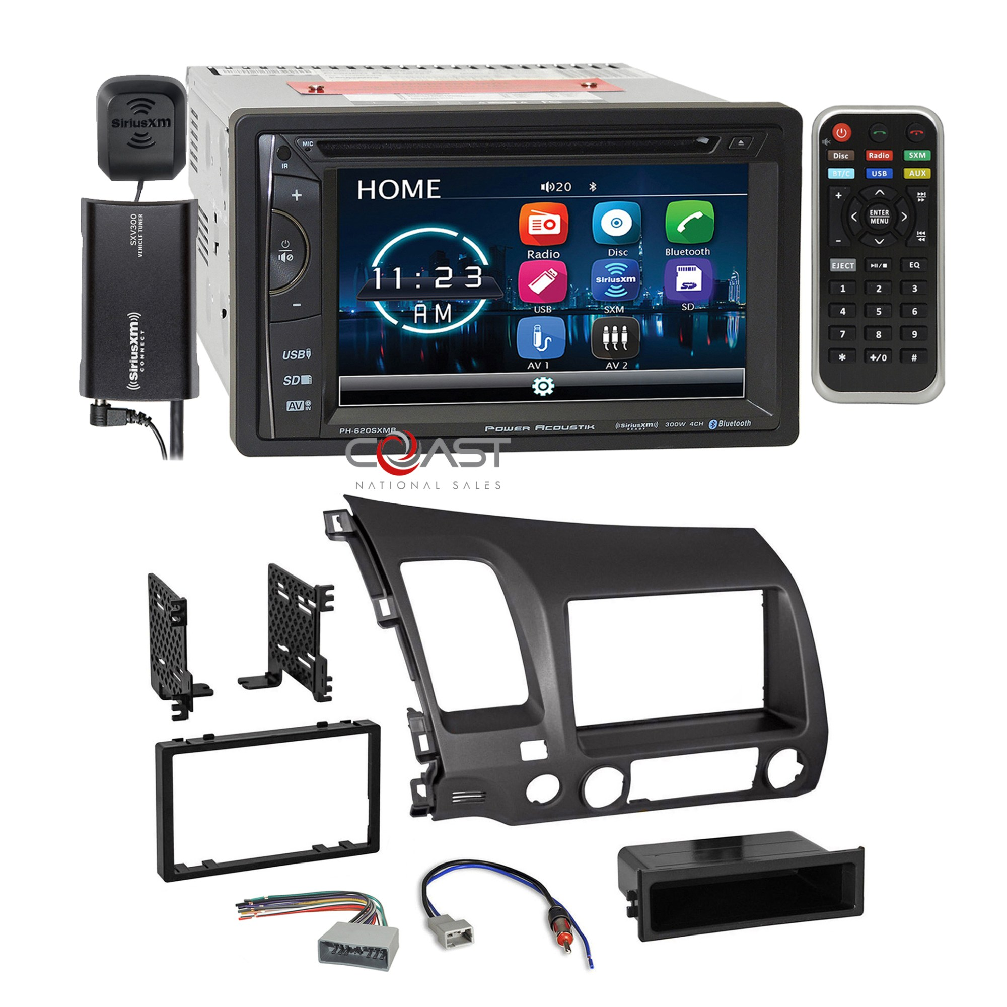 hight resolution of details about power acoustik dvd sirius stereo grey dash kit harness for 2006 11 honda civic