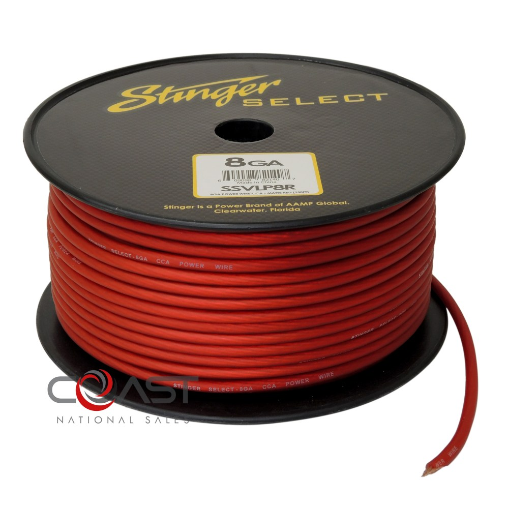 medium resolution of details about stinger 8 gauge matte red power ground wire car home audio ssvlp8r 25 ft