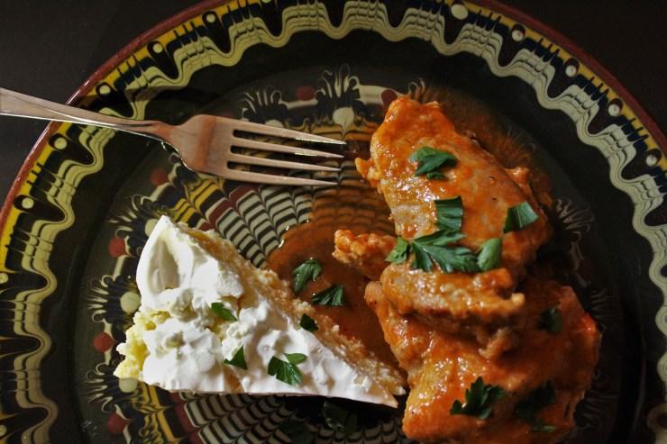 Paprika Chicken (Csirkepaprikas) and Romanian Polenta with Sour Cream (Mămăligă Cu Smăntănă)