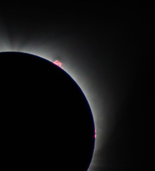 Total eclipse prominences, viewed from Silverton Oregon. Dawn Page / CoastsideSlacking