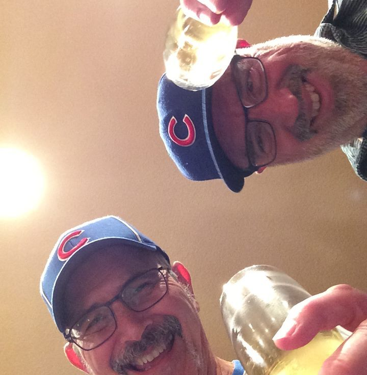 MontaraManDan celebrates the 2016 Cubs World Series Championship at home in Montara with a longtime Cubbie buddy. Dan Page/CoastsideSlacking