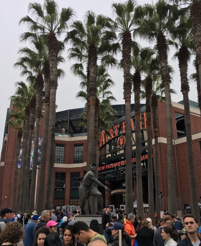 Willie Mays Statue amid 24 palms at AT&T Park. Dan Page/CoastsideSlacking