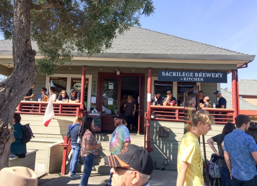 Enjoying a beer at Sacrilege Brewery during the 2017 Half Moon Bay Pumpkin Festival. Dawn Page / CoastsideSlacking
