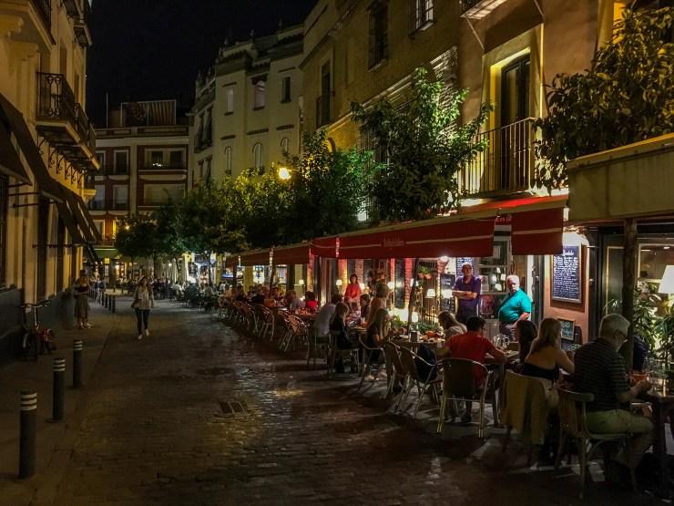 Dinner at a sidewalk cafe in Seville. Andalucía, Spain. Dawn Page / CoastsideSlacking