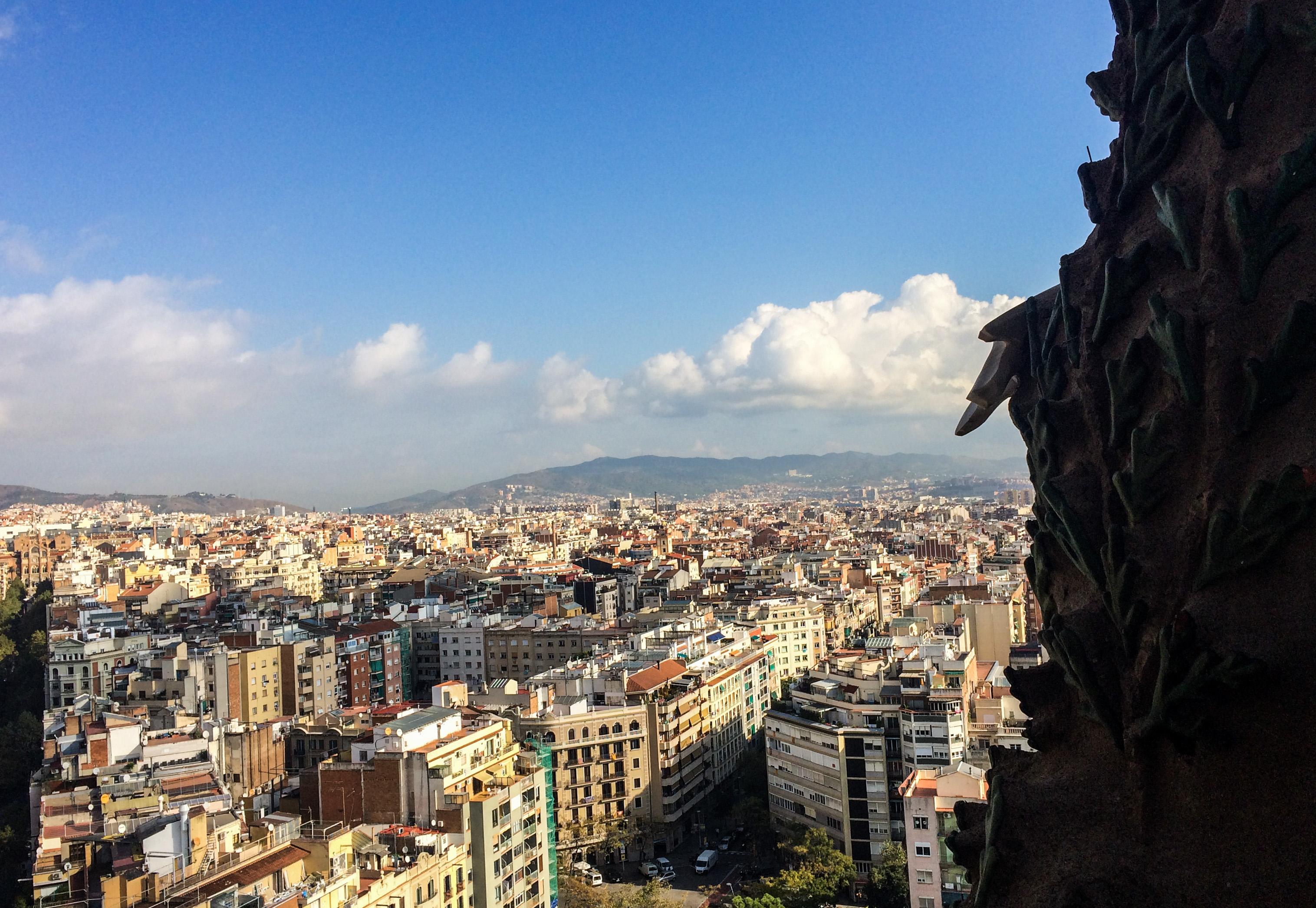 View from Sagrada Familia, Barcelona. Dawn Page/Coastside Slacking