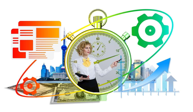 Image: woman against chronometer background