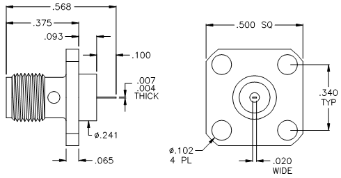 Female Sma Connector Dimensions Db15 Connector Dimensions