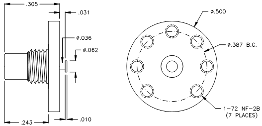 8150-1-7 SMC Straight Male PCB Receptacle (Nickel