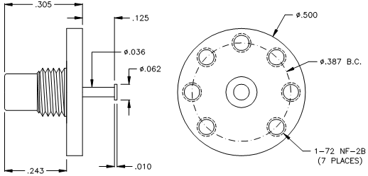 8150-3-7 SMC Straight Male PCB Receptacle (Nickel