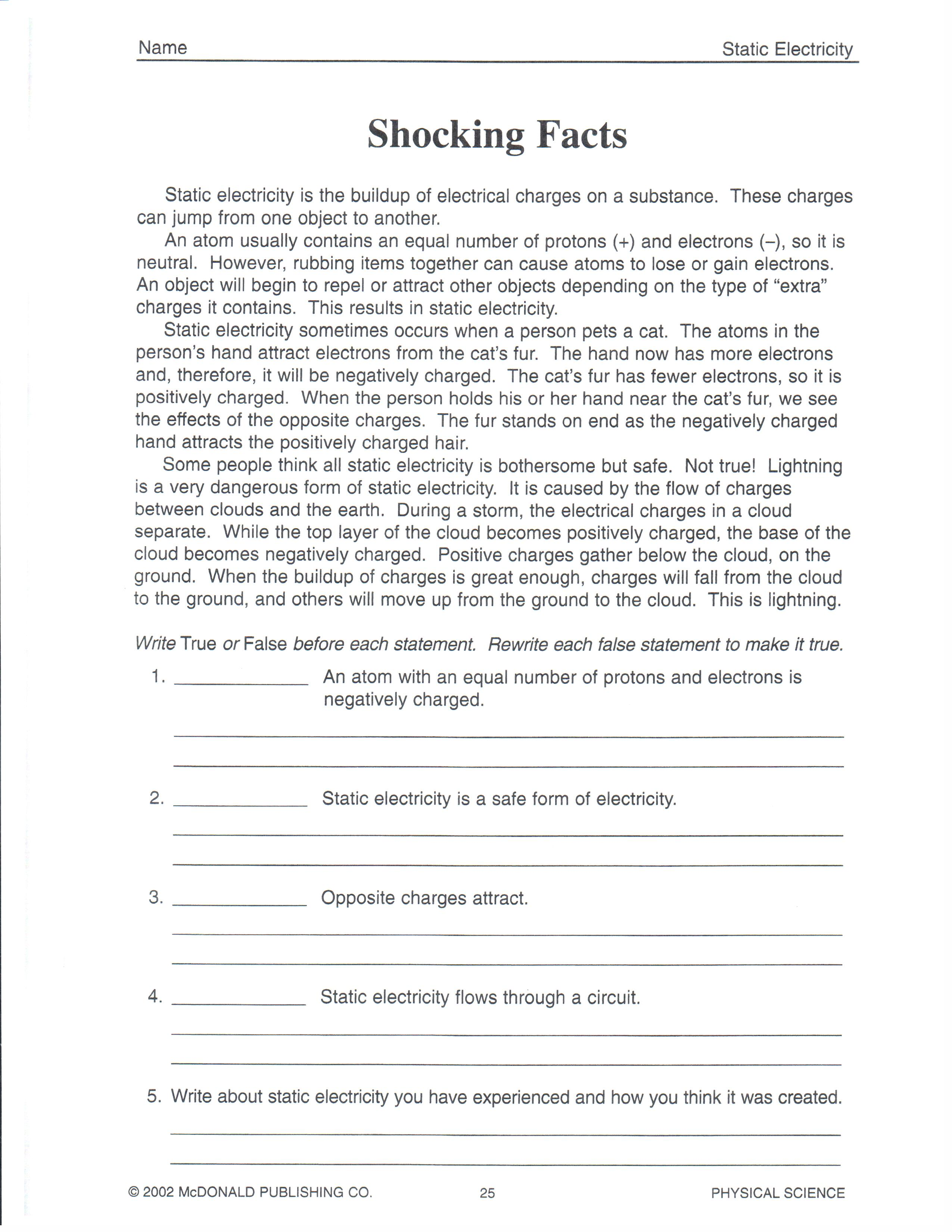 8th Grade Physical Science Worksheet Answers