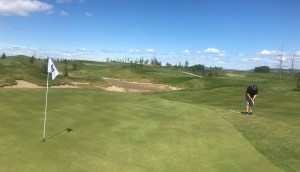 Chipping onto the green at Mickelson National