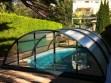 Cubierta telescópica gris para piscina