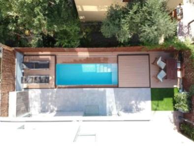 cubierta de madera plana piscina Mallorca