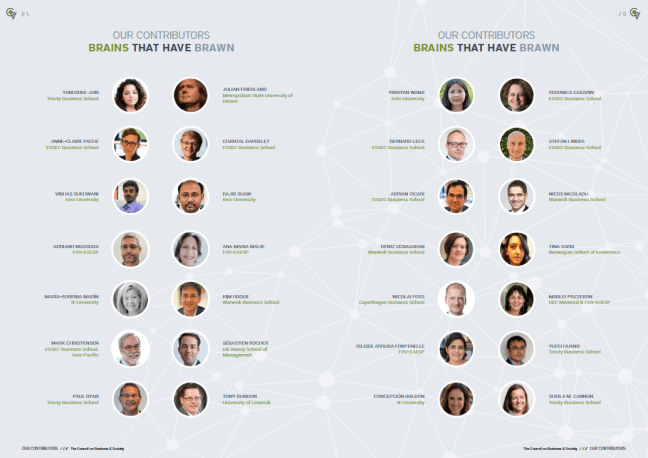 Global Voice #15 contributors. 100 pages of insights on CSR, leadership, management, healthcare, business education, entrepreneurship and social enterprise from the Council's 7 leading schools of business and management + guests