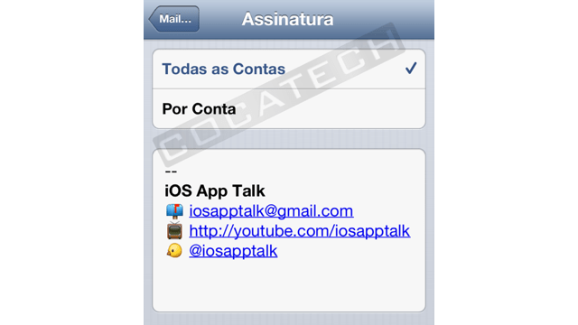 Foto de Assinatura HTML no Mail do iOS