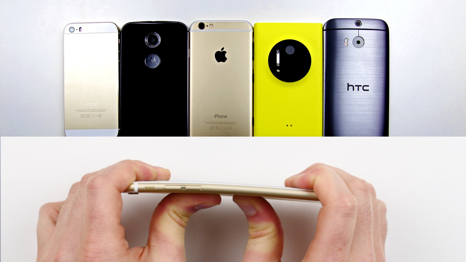 "Photo of ""Entortabilidade"": iPhone 6 vs. iPhone 5s vs. HTC One M8 vs. Moto X(2014) vs. Lumia 1020"