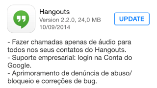 Photo of Hangouts 2.2.0 na Área, chamadas de áudio