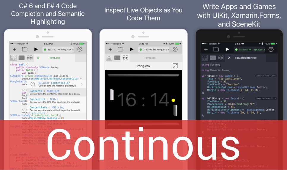 Photo of Continous, IDE .NET C# e F# com execução direta no iOS