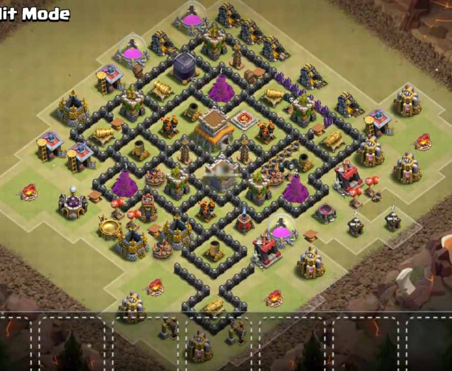 Coc th8 war base anti dragon with bomb tower