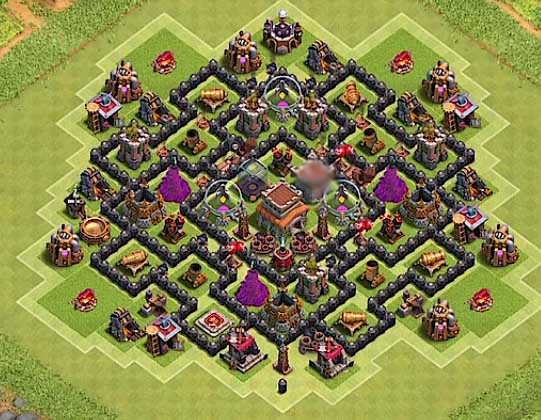 coc epic th8 hybrid base with bomb tower