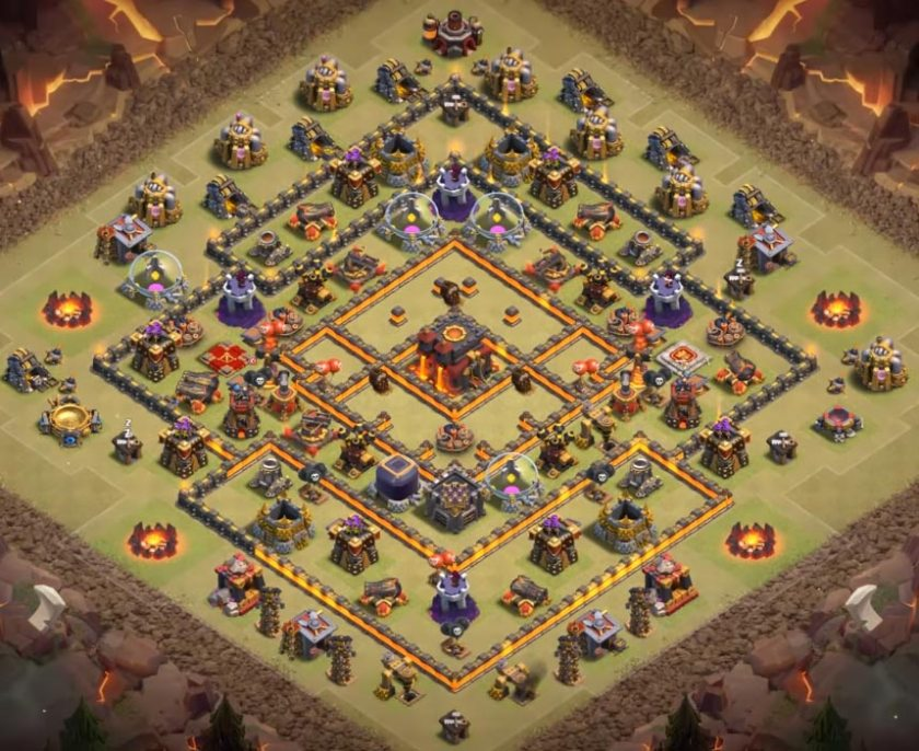 level 10 war base with geared cannon