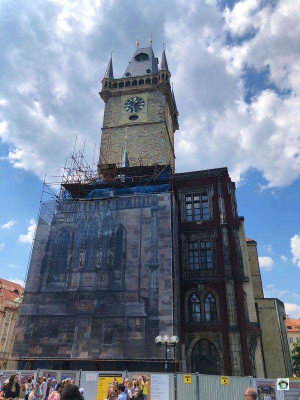 Orologio astronomico Praga in manutenzione